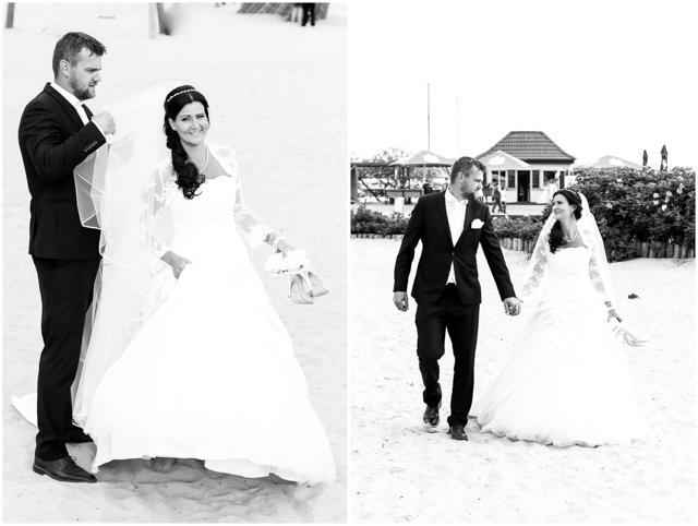 Hochzeitspaar am Strand Altefähr, schwarz/weiß, Hochzeitsfotografie in Altefähr - Hochzeitsfotograf_Ruegen_Stralsund