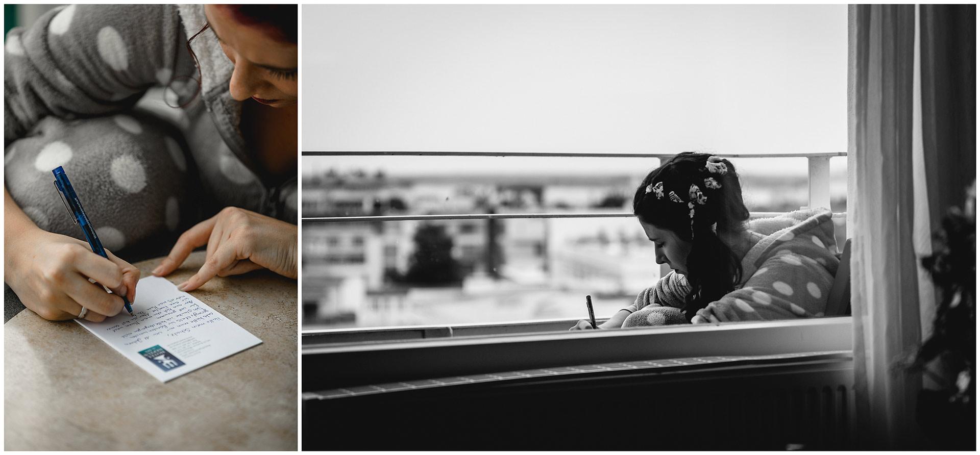 Braut sitzt am Tisch und schreibt ihr Eheversprechen-Hochzeitsfotograf-Warnemuende-Rostock-Hochzeitsfotograf-Ostseebad-Warnemünde