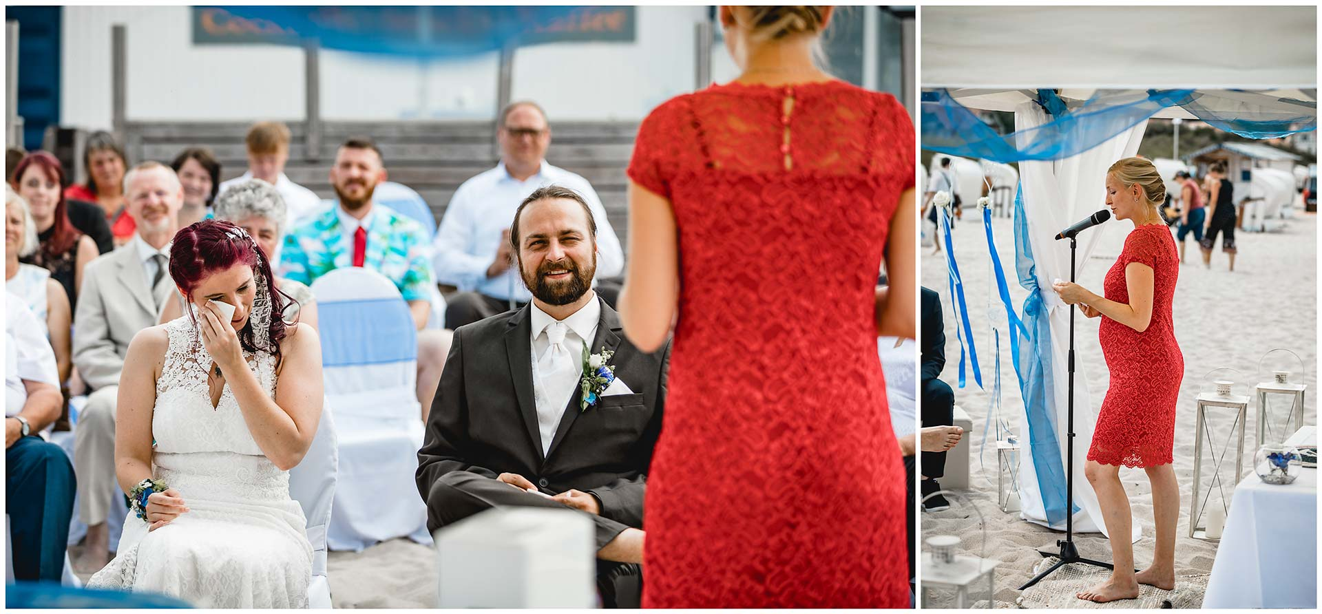 Trauzeugin-haelt-eine-Rede-bei-der-Freien-Trauung-am-Strand-Hochzeit-am-Strand-Hochzeitsfotograf-Warnemuende-Hochzeitsfotograf-Rostock-Hochzeitsfotograf-Ostseebad-Warnemuende