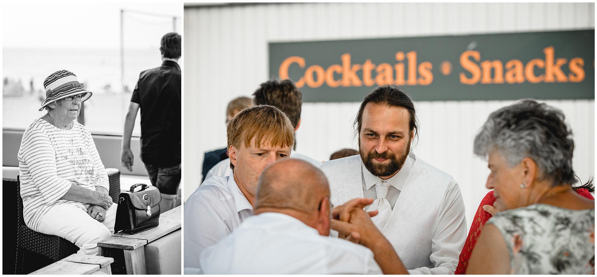 Foto-1_aeltere-Dame-mit-Hut_Foto-2_Braeutigam-unterhaelt-sich-mit-Gaesten-Hochzeitsfotograf-Warnemuende-Hochzeitsfotograf-Rostock-Hochzeitsfotograf-Ostseebad-Warnemuende